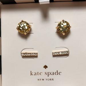 Kate Spade Gold Glitter Studd Earring Set